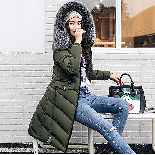 Jacket Warm For Coat Parka Quilted Winter Green BAINASIQI Down Women's Collar Hooded Long Fur Cotton 0qRIc7wAx