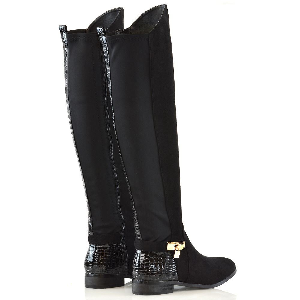 2339a899098b8 ESSEX GLAM Womens Over Knee Boots Flat Low Heel Zip Winter Casual Stretch  Calf Boots