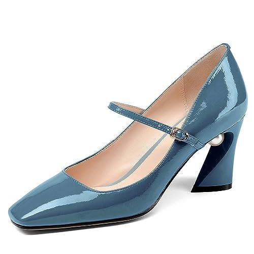 432bb565312 Amazon.com | Nine Seven Patent Leather Women's Square Toe Chunky ...