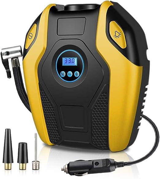 ZXZXZX Compresor Aire Coche,Smart Digital Tire Inflator EléCtrico Auto Bomba Auto OFF-12V DC, 3 Adaptadores De Boquilla Luz LED para AutomóViles, Amplia Gama De Aplicaciones: Amazon.es: Hogar