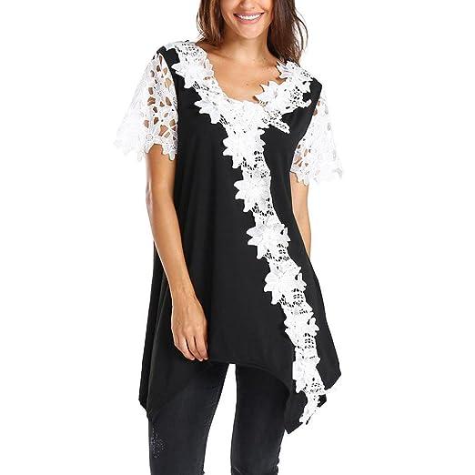 807588920b Amazon.com  Kanzd Women s Casual Lace Patchwork Contrast Floral Lace Trim  Tunic T-Shirt Blouse  Clothing