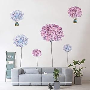Runtoo Flower Dandelion Wall Decals Hydrangea Floral Wall Art Stickers Living Room Bedroom Wall Decor