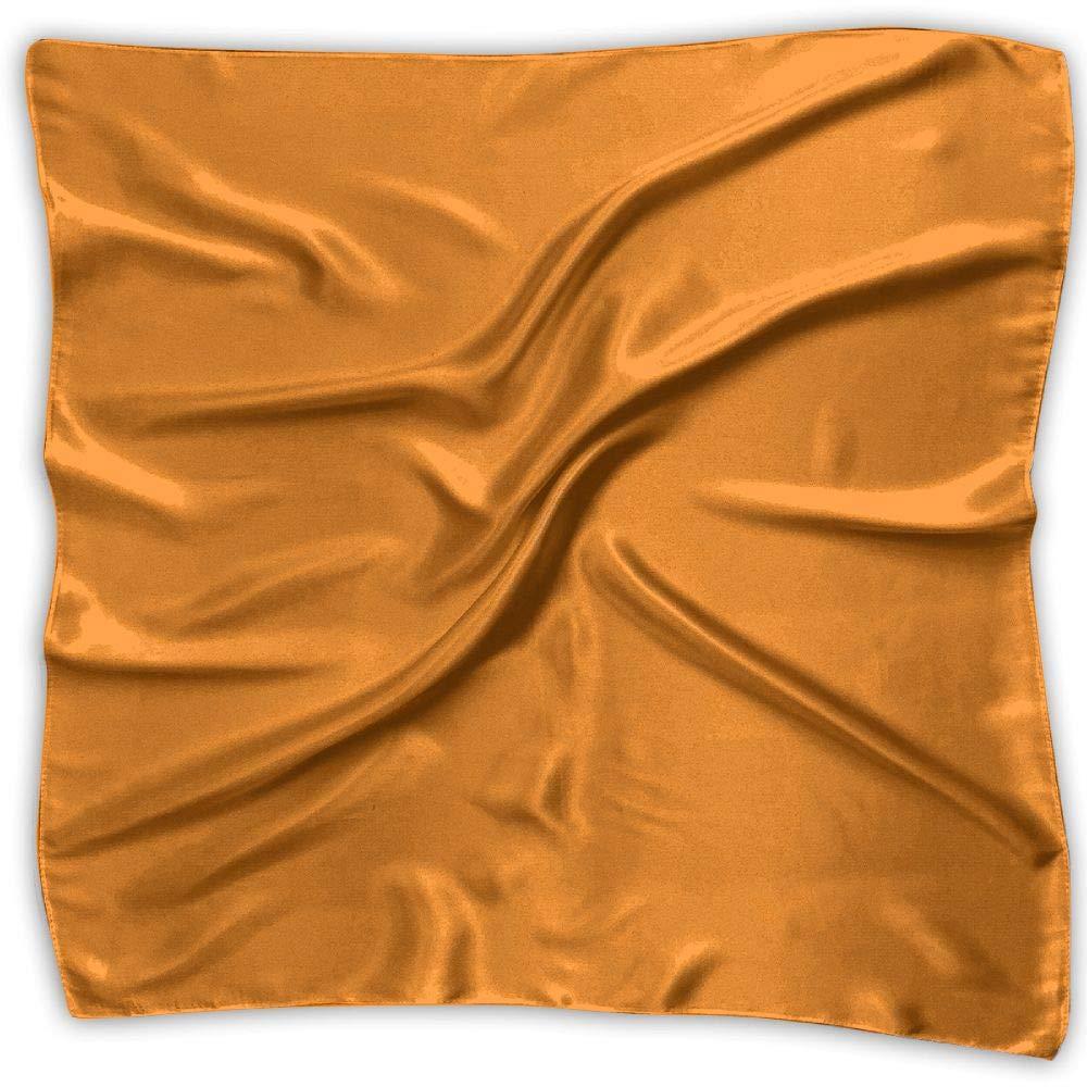 6fcbb471b8923 Women Neckerchief Amber Orange Solid Color Satin Silk Feeling Formal Square Neck  Scarf Head Hair Scarfs Wraps at Amazon Women's Clothing store: