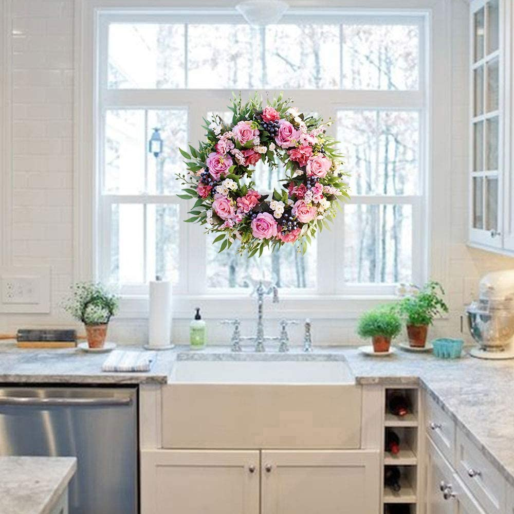 Wall UArtlines Artificial Rose Flower Wreath 22//56cm Door Wreath with Green Leaves Christmas Festival Wreath for Front Door Wedding Home Decor
