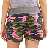 FarJing Big Promotion Lady Summer Camouflage Womens Workout Yoga Hot Shorts Drawstring Casual Shorts (L,Pink