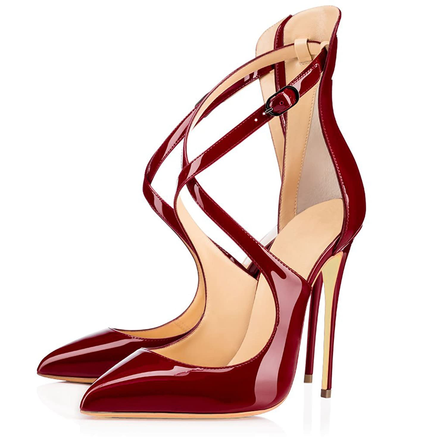 uBeauty Womens Court Shoes Stiletto High Heels Slip On Pumps Pointed Toe  Shoes Classic Cross Strap Shoes: Amazon.co.uk: Shoes & Bags