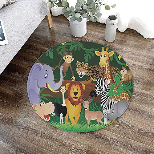 (TecBillion Zoo Printing Round Mat,Animals in The Jungle Funny Expressions Exotic Comic Cheer Natural Habitat Illustration for Bathroom Kitchen Bedroom,23.62