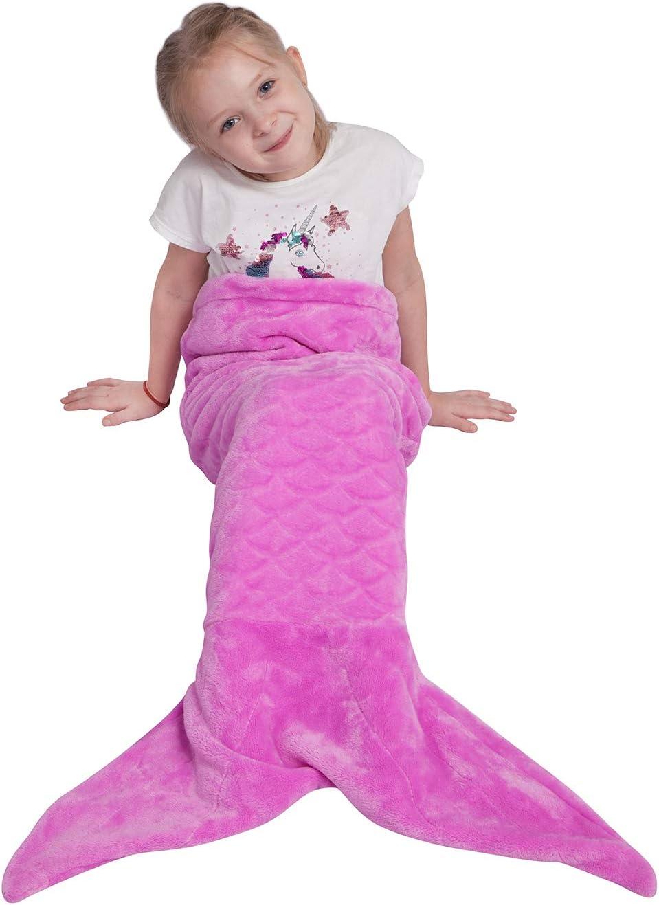 Viviland Coperta per Sirena per Bambini Sacco a Pelo per Sirena in Flanella Arcobaleno Super Morbido 43x100cm Regali di Compleanno Regali di Natale per Ragazze
