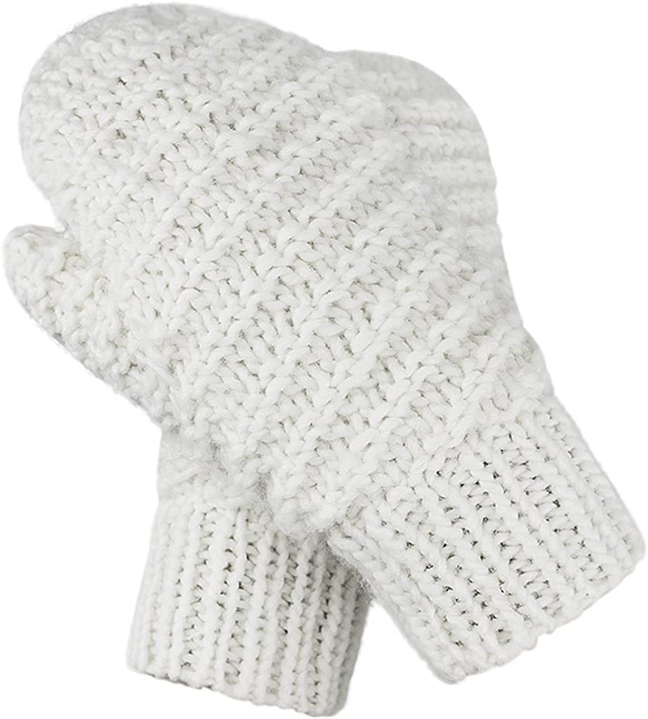 Women Winter Super Soft Knitted Gloves Mittens Thicken Warm Wool Windproof Cold-proof Gloves Knitted Fleece Lined Gloves Christmas Birthday Gifts