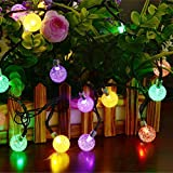 Dephen Solar Globe Fairy Lights 30 LED Crystal Ball Patio String Lights - 19.7ft 8 Mode Waterproof Christmas Lights for Outdoor Garden Yard Patio Party Home Decoration(Multicolour)