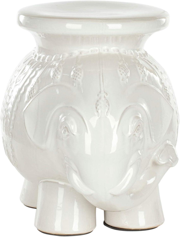 Safavieh Elephant Ceramic Decorative Garden Stool, White