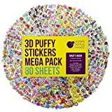 Purple Ladybug Novelty 80 Different Sheets Kids & Toddlers Puffy Stickers Mega Variety Pack - Over 1900 3D Puffy Stickers for Kids - Including Animals , Smiley Faces , Cars , Stars and More!