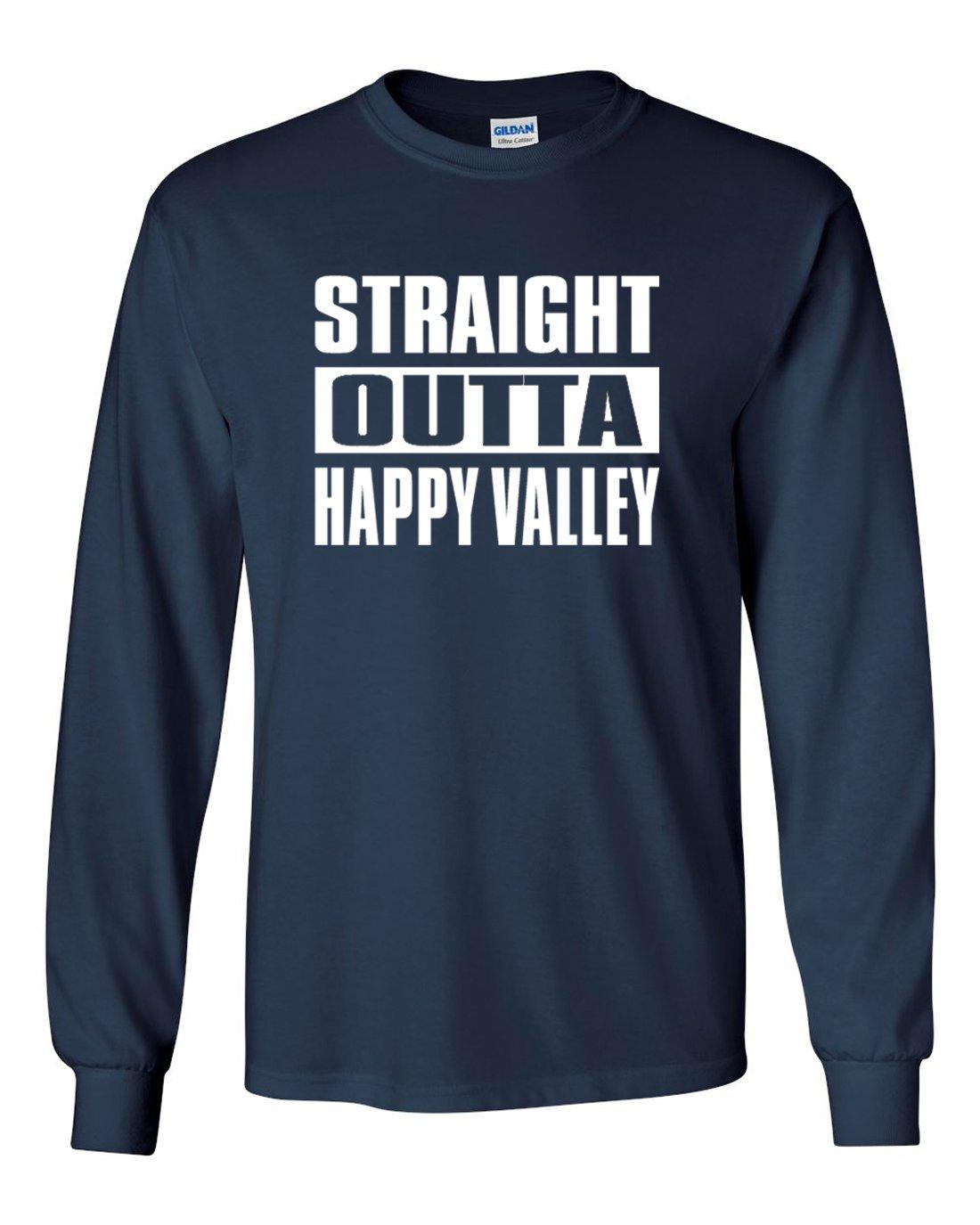 Silo 長袖ネイビーペンシルバニア「Straight Outta Happy Valley」Tシャツ B07581FXJ3  Adult 4XL