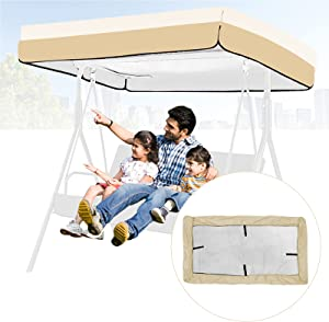Swing Replacement Canopy Cover, Waterproof Outdoor Patio Swing Canopy Replacement, Replacement Canopy for Swing Hammock Protector Furniture Dustproof Cover, Outdoor Sunproof Cover (Beige)