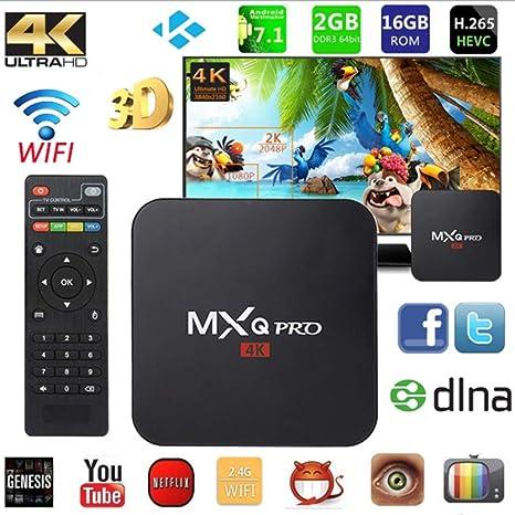 LOISK MXQ-Pro Android 7.1 Receptor De TV, RK3229 Quad-Core 2GB RAM + 16GB ROM Reproductor Multimedia 2,4Ghz Wi-Fi USB 3.0 H.265 3D 4K Ultra HD Smart Set Top Box: Amazon.es: Deportes y