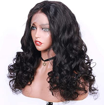 WIGU Parte media larga onda larga curva grande onda profunda peluca negra peluca de cabello humano de encaje completo 14 pulgadas Recta Extensiones de Cabello Humano Real Negro Natural 100% Pelo Bras:
