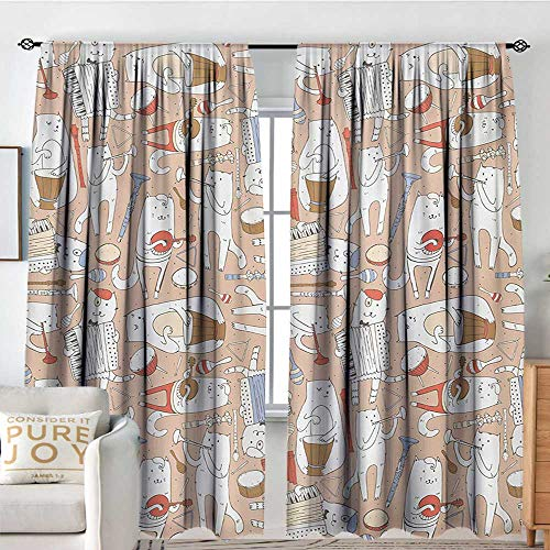 Bathroom Curtains Music,Cartoon Musician Cute Cats with Drum Accordion Tube Guitar Music Theme Pattern,Warm Taupe White,Drapes Thermal Insulated Panels Home décor 100