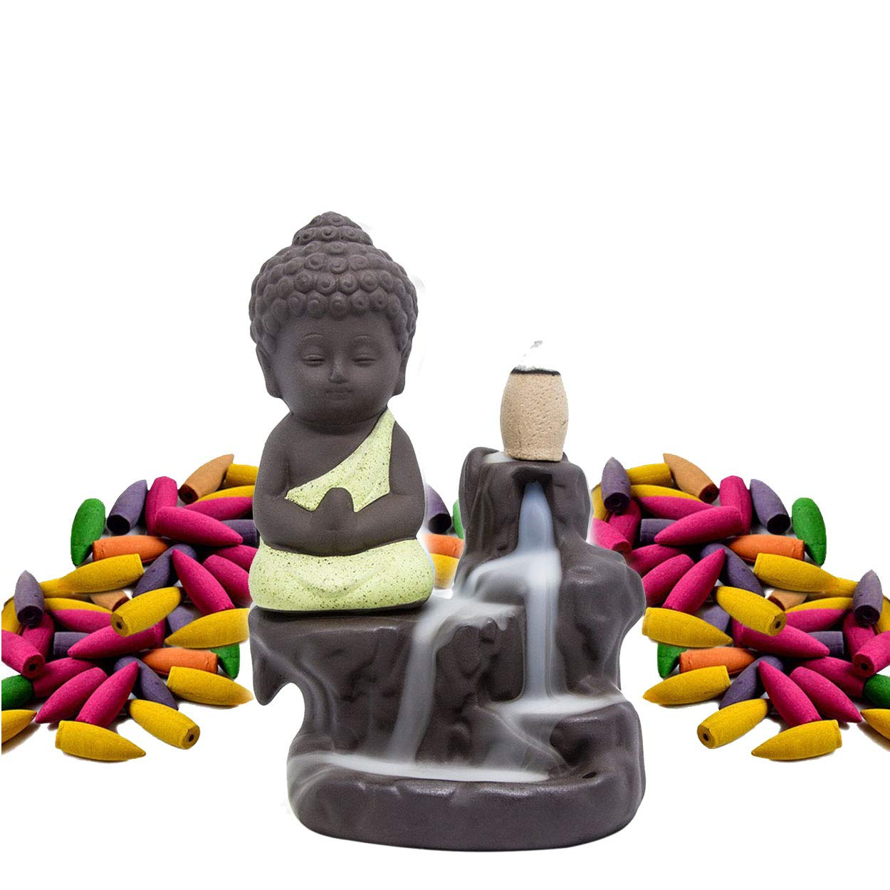 Incense Burner Backflow Set Mixed Aromatherapy Tower Cones Sticks Holder Ceramic Waterfall Buddha Monk Ash Catcher -IN007 Yellow (70 Variety Cones& Holder)