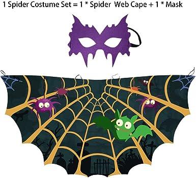 Adults Kids Satin Super Hero Cape Halloween Sequin Mask School Fancy Dress Party