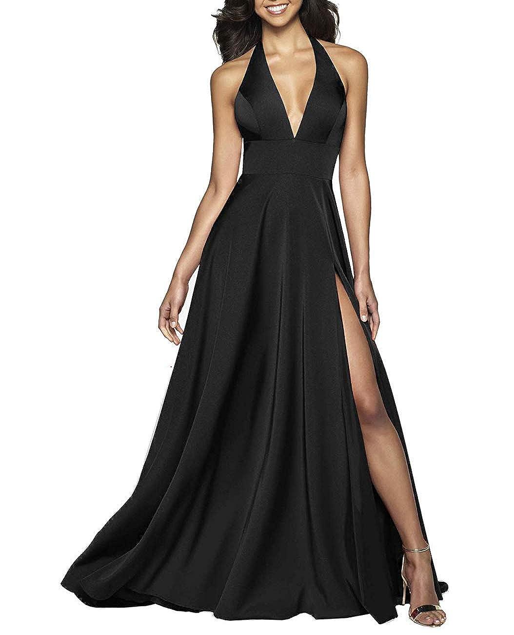 Black RTTUTED Satin VNeckline Long Prom Gown with Pockets Evening Dresses Sexy Split Skirt