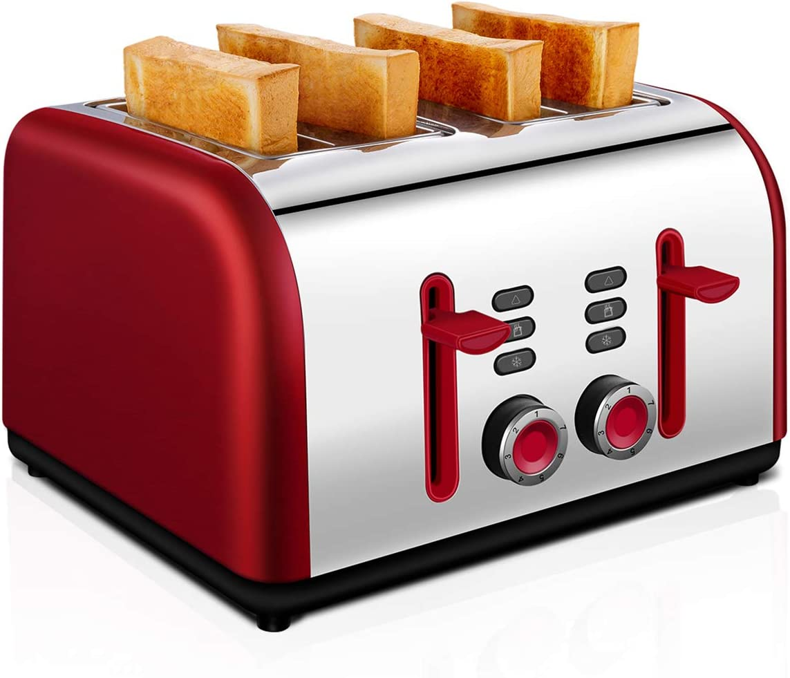 4 Slice Toaster, CUSINAID Wide Slots Stainless Steel Toaster 4 Slice Best Prime with REHEAT/DEFROST/CANCEL Function Red Toaster