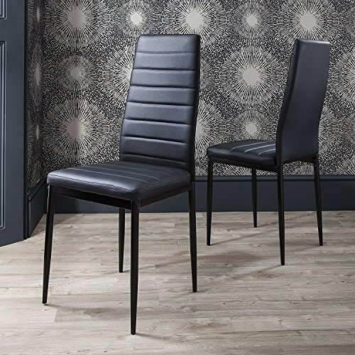 IDS Online 6 PCS Set Modern Style PU Leather Dining Side Chair with Foot Pad Black by IDS Online (Image #2)