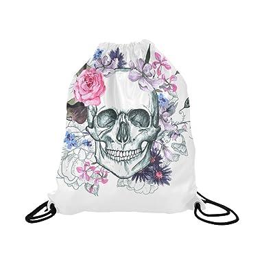 InterestPrint Floral Skull Flowers Drawstring Backpack School Travel  Daypack Gym Bag 7d26bfeb09