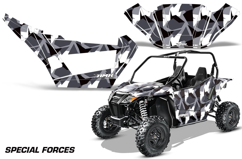 AMRRACING Arctic Cat Wildcat Sport XT Full Custom UTV Graphics Decal Kit Special Forces Silver