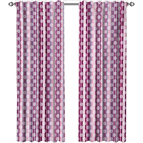 shenglv Purple, Curtains Insulated, Barcode Style Vertical Stripes Background with White Polka Dots European Motifs, Curtains Kitchen Window, W96 x L108 Inch, Multicolor