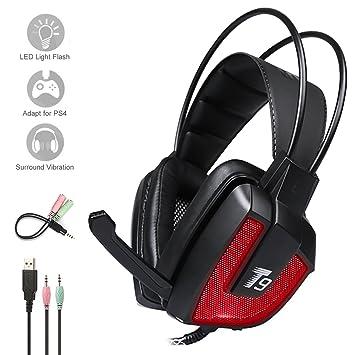 Auriculares para juegos, auriculares estéreo para juegos PS4, Hizek reducción de ruido con micrófono