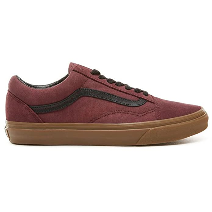 Vans Old Skool Sneaker Damen Herren Kinder Unisex Weinrot/Gum mit schwarzen Streifen