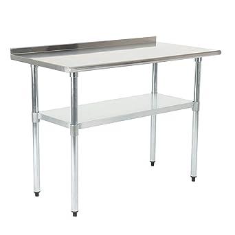 SUNCOO Zubereitungstisch mit Backsplash Edelstahl-Tisch Arbeitstisch Küche  Tisch mit Einstellbarer Großer Ablagefläche Küche-,Restaurant-, und ...