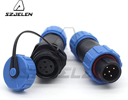 2 Pin Pair Waterproof Aviation Cable Connector Plug w Socket IP68 SP13-2