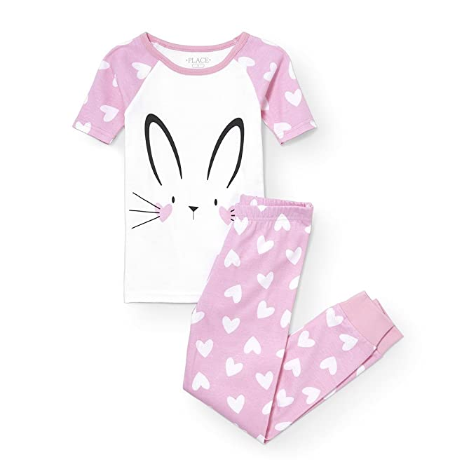 b6ec1ac47505 Image Unavailable. Image not available for. Color: The Children's Place Big  Girls' 2 Piece Sweet Bunny Short Sleeve Top and Pant Set