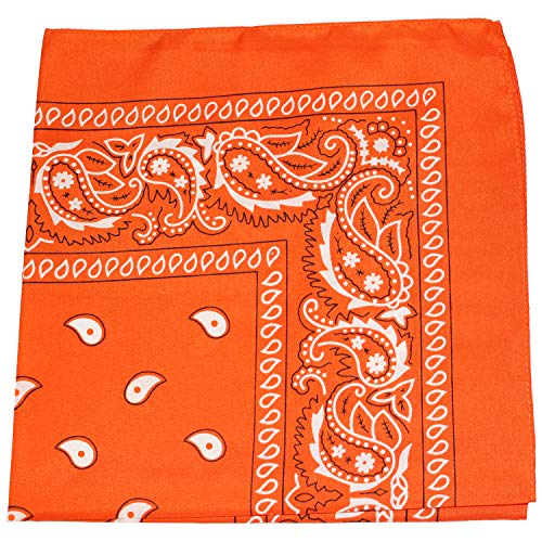 - Mechaly Paisley 100% Polyester Unisex Bandanas - 12 Pack - Dozen Wholesale (Orange)