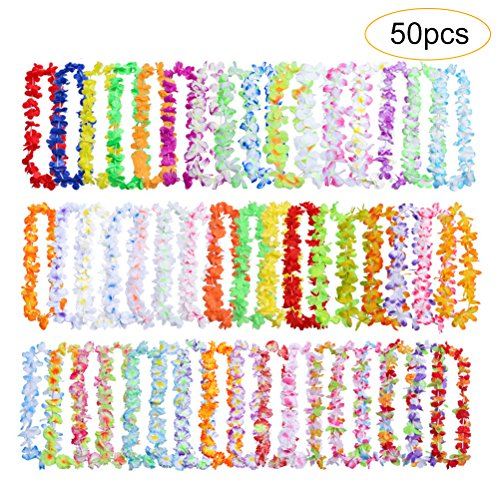 50 Pcs Hawaiian Leis Luau party decorations, Cooyeah Tropical Hawaii Ruffled Flower Wreaths Necklaces Hair Clip for Holiday, Wedding, Beach Party, Birthday Decorations -