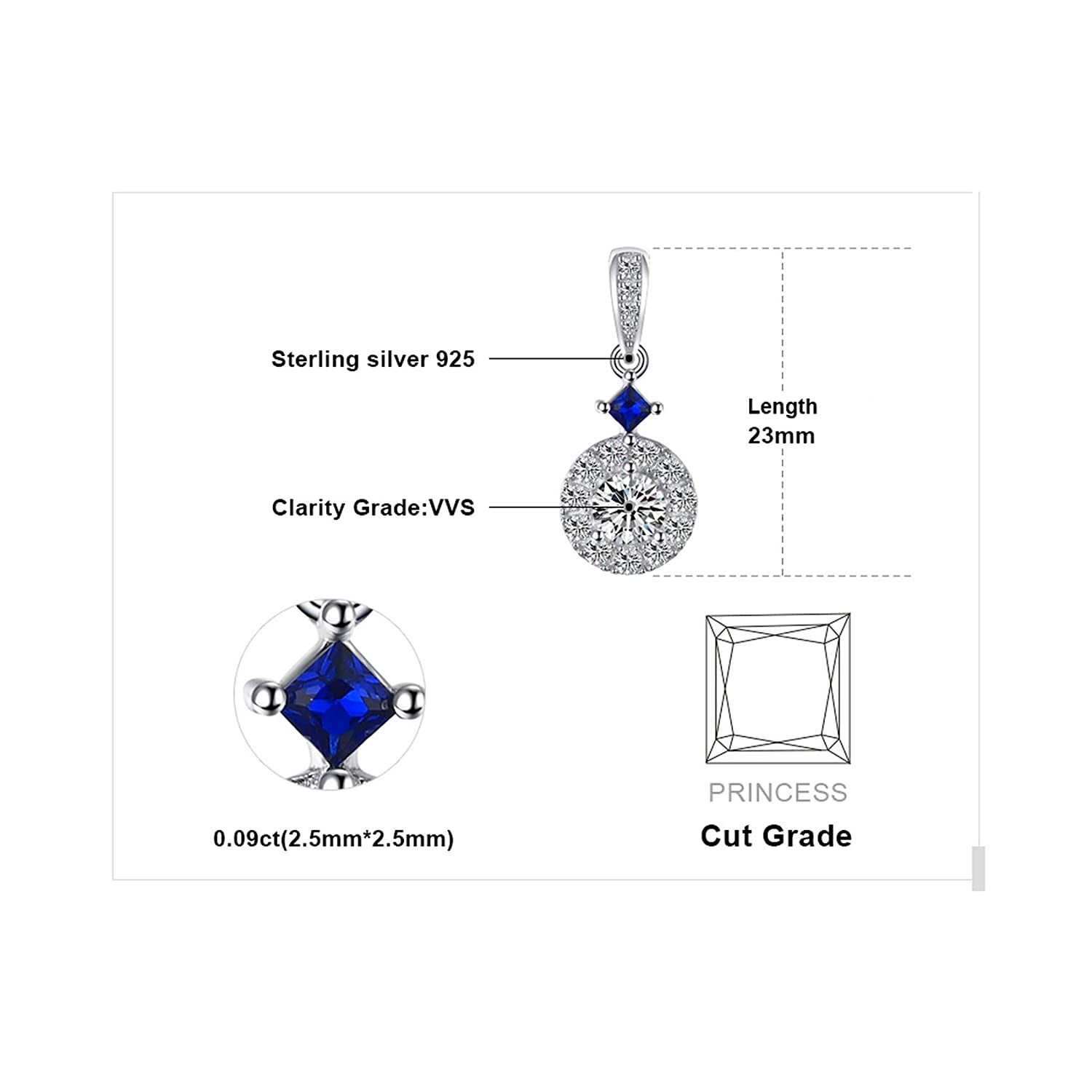 Pendants Necklaces by CS-DB Elegant Blue Spinel Drop CZ Silver Womens Jewelry
