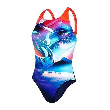 86d27a730d Amazon.com  Speedo Womens Solar Surface Powerback Swimsuit -Navy Red ...