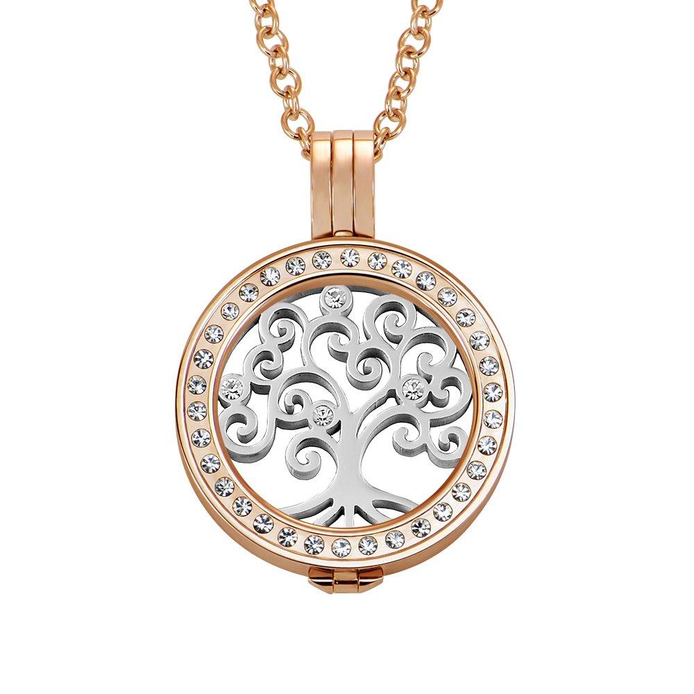 Quiges Damen Coins 25mm Edelstahl Coin Anhänger mit Zirkonia Rosegold mit Halskette 70cm und Coin Starter Set #722