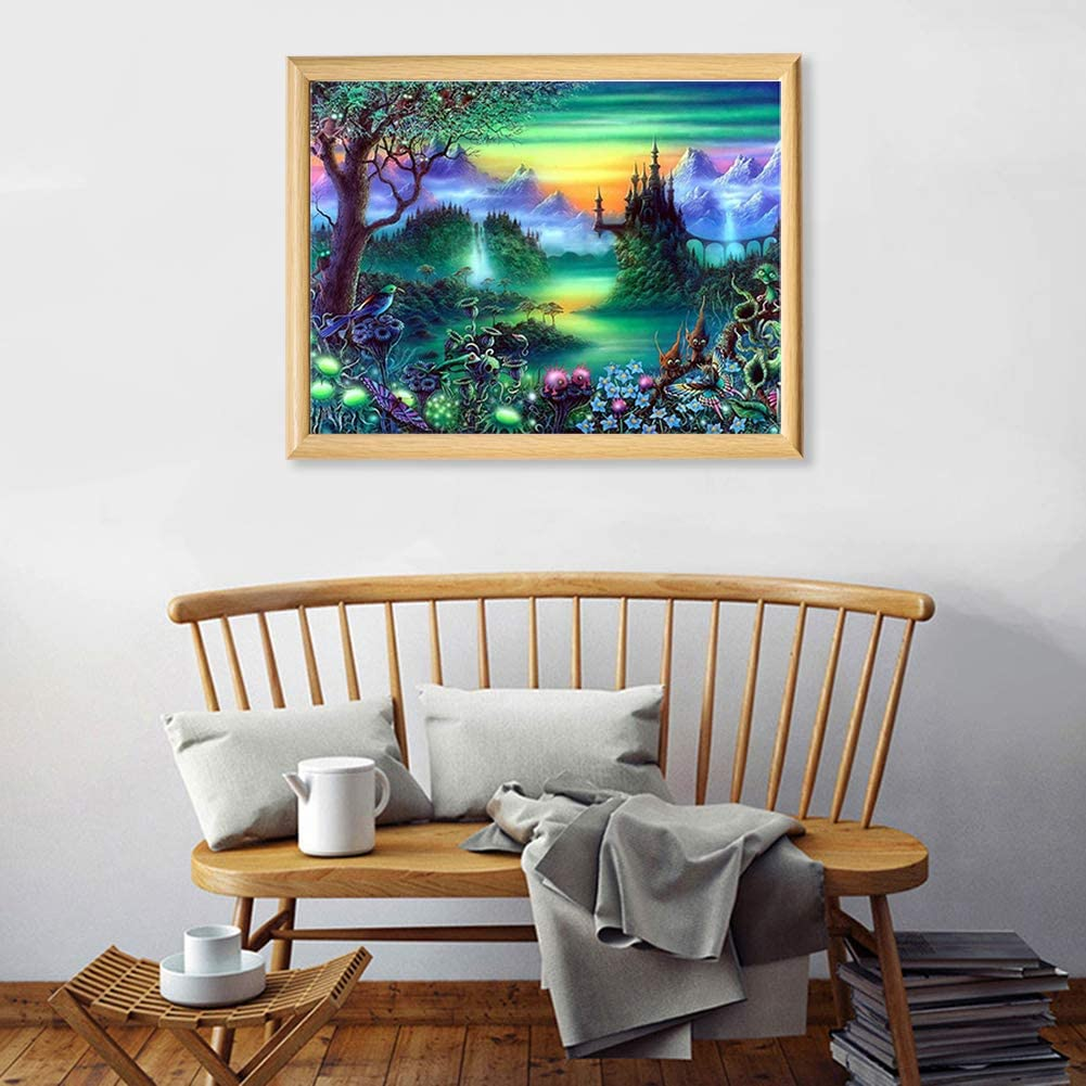 5D Diamond Painting Kit Painting Cross Stitch Full Drill Arts Craft Supply for Home Office Decor 15.711.8in//13.813.8in Lake