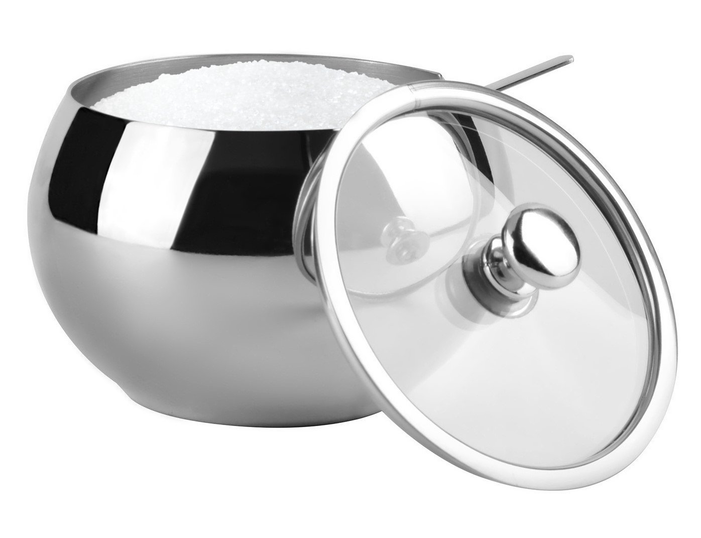 KooK Sugar Bowl Glass With Clear Lid and Spoon 0.5L (16.90 Ounces) - Wide Mouth