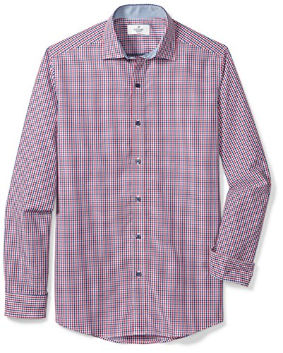 Buttoned Down Men's Fitted Spread-Collar Sport Shirt, Red/Blue Tatersol, L 34/35
