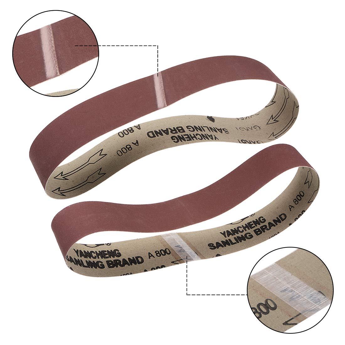 Banda Lijado 400 Granos /Óxido Aluminio 4pcs sourcing map 2 Pulgadas x 27 Pulgadas 50mm x 686mm