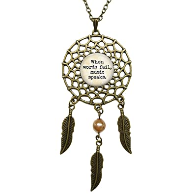 Amazon Dreamcatcher Pendant Music Lover Quote Vintage When Amazing Dream Catcher Words