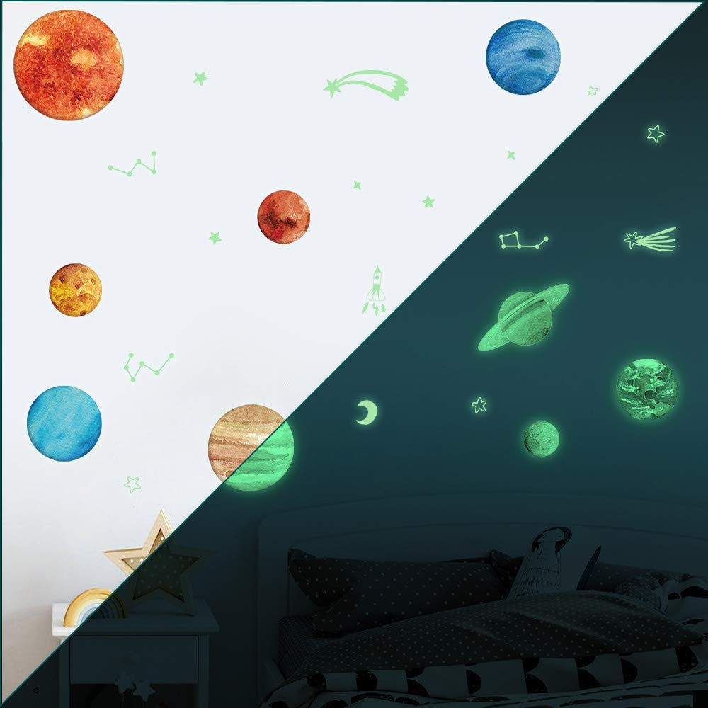 TEPSMIGO 68pcs Glow in The Dark Stars and Planets Wall Stickers, 9 Planets + 28 Stars + 12 Shooting Stars + 19 Constellation Symbols, Bright Solar System Wall Stickers Glowing Ceiling Decals for Kids by TEPSMIGO (Image #7)