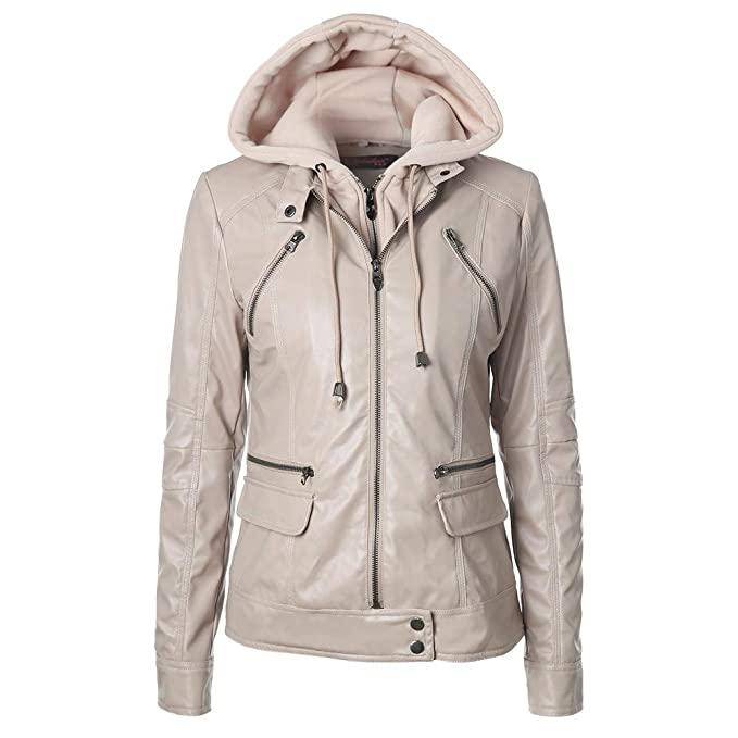 Amazon.com: BETTERUU UFACE Women Slim Leather Jacket Removable Zipper Caps Hooded Coats Outwear: Clothing