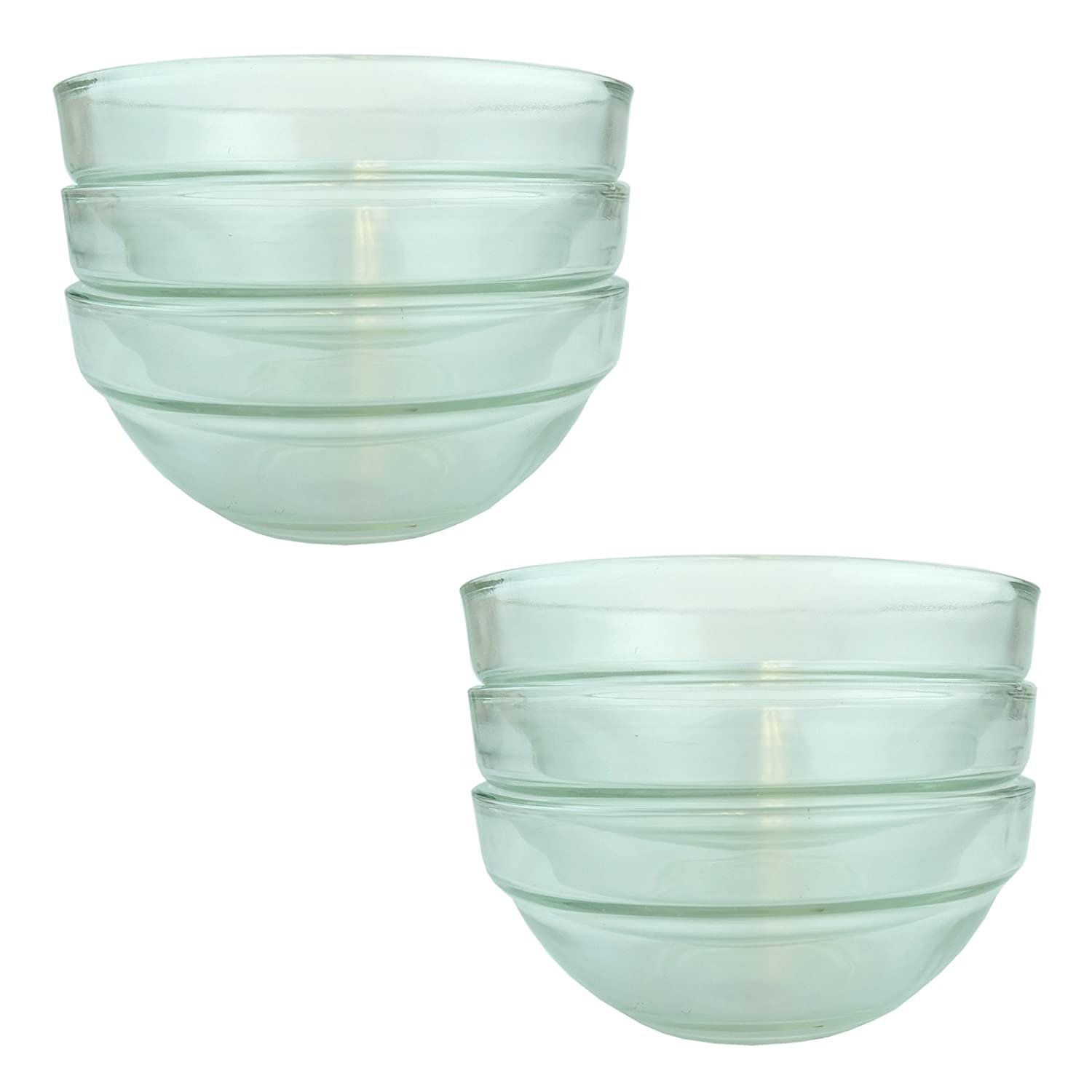 Bid Buy Direct® Stackable Glass Bowls Sets in Various Sizes - Extremely Durable Tempered Clear Glass | Multi-Purpose for Kitchen Preparations, Desserts, Dips and Candy Dishes or Nut Bowls! (4 x 12.5cm)