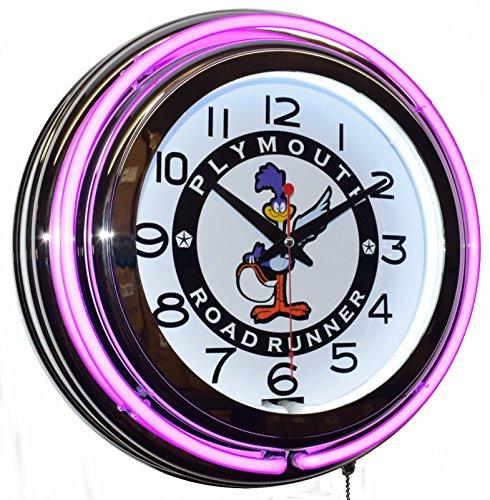 (Classic.Neon Road Runner Super Bird Purple Double Neon Advertising Clock Man Cave Garage Decor)