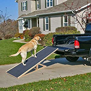 Pet Ramp Dogs Skidproof Slope Height Adjustable Foldable Pet Ramp Pet Ladder Wood for Car Van Travel (100 * 40cm(LXW… Click on image for further info.