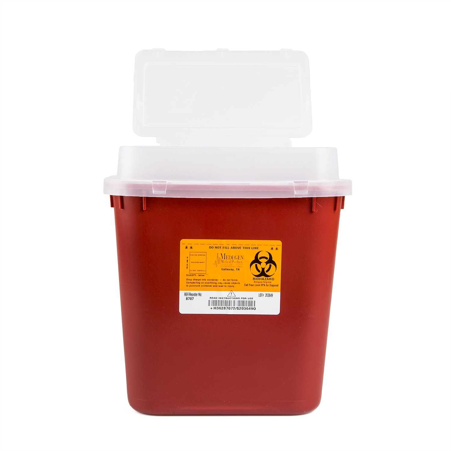 Medegen Medical Products 8707 Stackable Sharps Containers with Print, Polypropylene, Large, 10'' x 7'' x 11-1/4'' Size, 2 gal Capacity, Red/Black (Pack of 10) by Medegen Medical Products